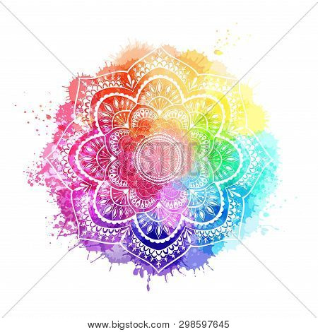 Round Gradient Mandala On White Isolated Background. Mandala Over Colorful Watercolor