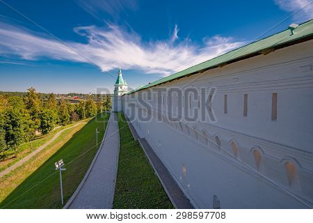 New Jerusalem, Istra / Russia: White Brick Wall Of The Fortress. Resurrection New Jerusalem Monaster