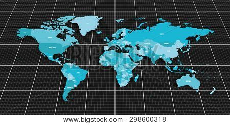Colorful Geopolitical Map Of World. Bottom Perspective View With Background Grid. Vector Illustratio