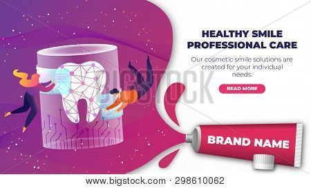 Banner Is Written Healthy Smile Professional Care. Man And Woman Fly Into Weightlessness Around Larg