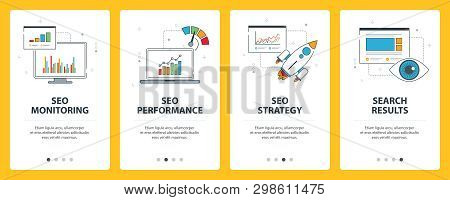 Search Engine Optimization Internet Banner. Vector Set Of Banners With Seo Monitoring, Seo Performan