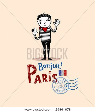 Mine as one of symbols of Paris, post card in doodle style