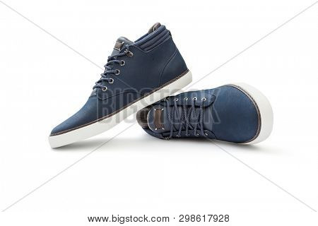 Leather casual shoes on white background, including clipping path