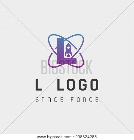 Space Force Logo Design L Initial Galaxy Rocket Vector In Gradient Background