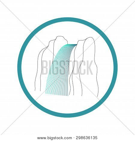 Vector Illustration Of Waterfall Cascade. Water Stream Falling Of Various Shape Of Mountain Rock. Is