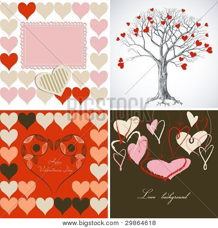 Love greeting card vector set