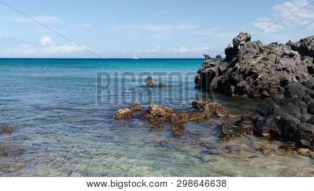 Volcanic Black Rocks At Waialea  Beach, Puako Bay, Waimea, Big Island, Hawaii