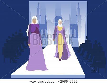 Fashion Show. Muslim Women Models. Vogue Industry. In Minimalist Style. Cartoon Flat Vector