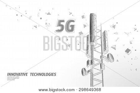 3d Base Station Receiver. Telecommunication Tower 5g Polygonal Design Global Connection Information