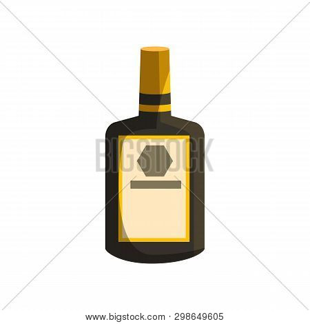 Bourbon Cartoon Illustration. Whiskey, Cognac, Rectangular Bottle With Blank Label. Alcohol Concept.