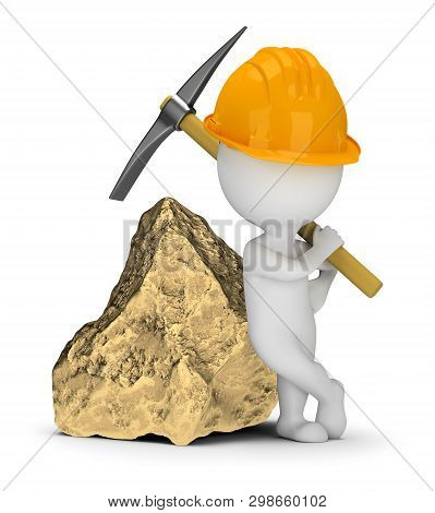 3d Small People - Miner With A Pick Next To A Big Gold Nugget. 3d Image. White Background.