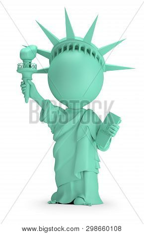 3d Small People - Statue Of Liberty. 3d Image. White Background.