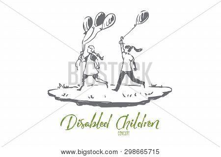 Handicapped, Girl, Balloon, Friend, Disability Concept. Hand Drawn Handicapped Girl With Balloons Co