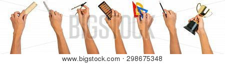 Hand Holding School Equipments Plastic Set Square, Pencil, Wooden Ruler, Triangular Ruler Scale, Aba
