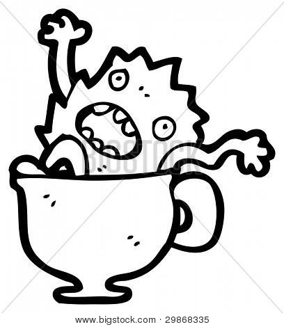 monster in tea cup cartoon poster