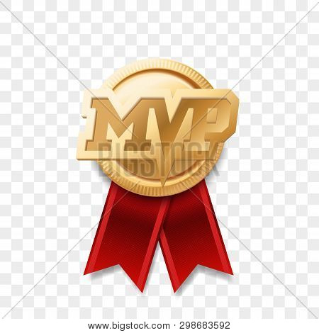 Mvp Gold Medal Award. Vector Most Valuable Player Trophy Logo