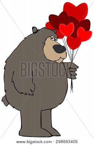 Illustration Of A Black Bear Holding A Bunch Of Heart Shaped Balloons.