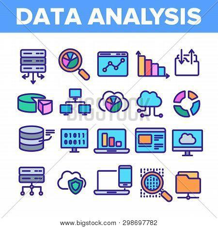 Data Analysis, Web Storage Linear Vector Icons Set. Data Science Thin Line Contour Symbols. Server,