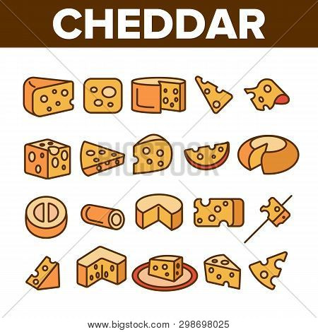 Cheddar Cheese Linear Vector Icons Set. Cheddar Piece, Milk Products Symbol Pack. Snack, Food. Dairy