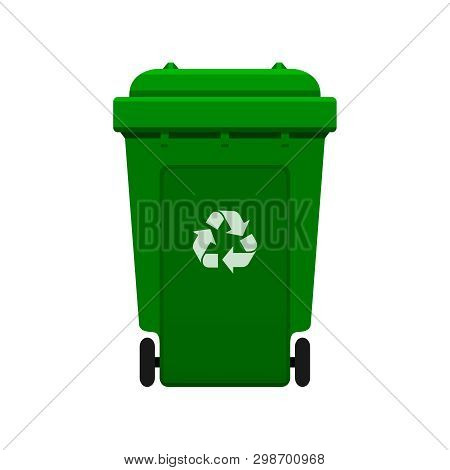 Bin, Recycle Plastic Green Wheelie Bin For Waste Isolated On White Background, Green Bin With Recycl