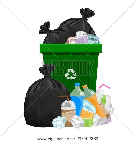 Illustration Garbage Waste And Bag Plastic And Green Recycle Bin Isolated On White, Pile Of Plastic