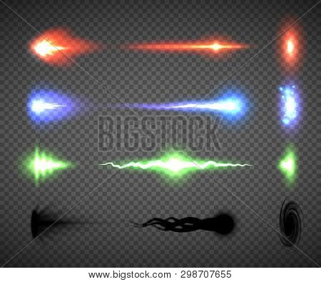 Futuristic Energy Weapon Firing Effect Vectors, Sci-fi Or Computer Game Graphics Of Weapon Nozzle Fl