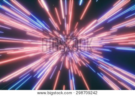 3d illustration of abstract creative cosmic background. Hyper jump into another galaxy. Speed of light, neon glowing rays in motion. Beautiful fireworks, colorful explosion, big bang. poster