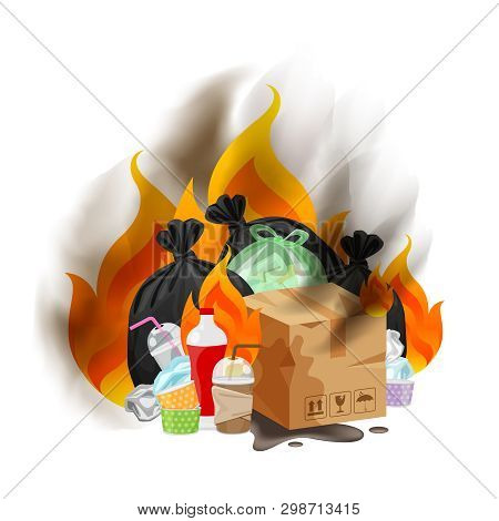 Polluted Of Waste Plastic Incineration Isolated On White, Garbage Waste Disposal With Burnt Incinera