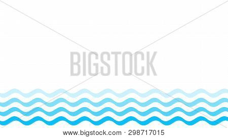 poster of water wave blue line stroke isolated on white background, water wave blue smooth simple, art line water wave for banner design and copy space, ocean wave for drinking water symbol graphic blue waves