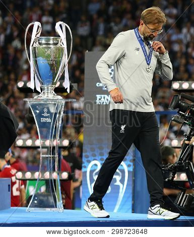 Kyiv, Ukraine - May 26, 2018: Liverpool Manager Jurgen Klopp Goes Past The Pedestal With Champions L