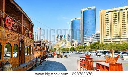 Dubai, United Arab Emirates - February 13, 2018: Skyscrapers Along The Creek In Dubai In The United