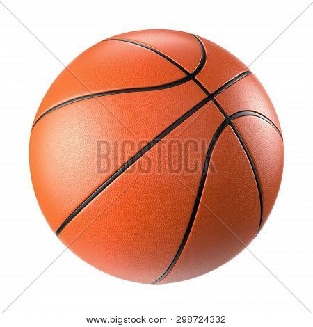 Orange Basketball Ball Isolated On White Background. 3d Illustration