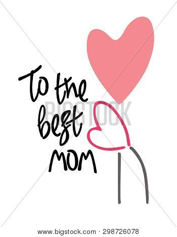 Mothers Day Or Mothers Birthday Greeting Card. Two Heart-flowers, A Mother And A Child. Concept Of M