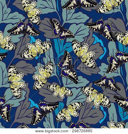 Seamless Background With A Pattern Of Butterflies. Aglais Io, Parnassius Apollo, Acherontia Atropos,