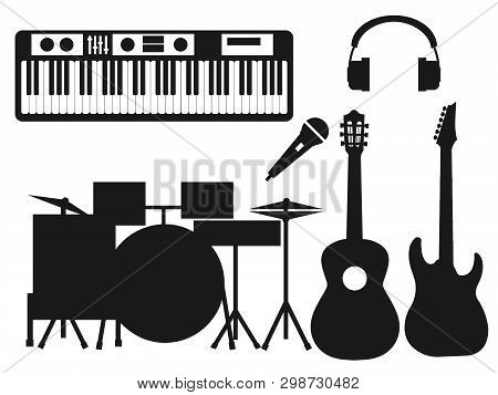 Collection Of Black Silhouettes Of Musical Instruments On A White Background