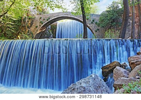 Double Waterfalls Of Palaiokaria In Trikala Thessaly Greece - Stony Arched Bridge Between The Two Wa