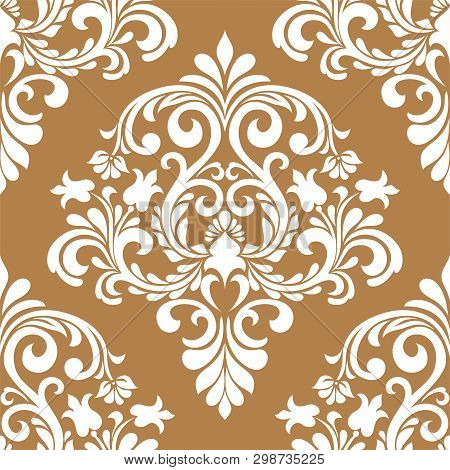 Damask Seamless Vector Background. Baroque Style Pattern. Beige And White Floral Element. Graphic Or