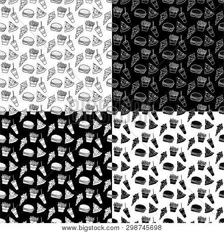 Cute Cartoon Fast Food Pattern Set With Hand Drawn Fast Food. Sweet Vector Black And White Fast Food