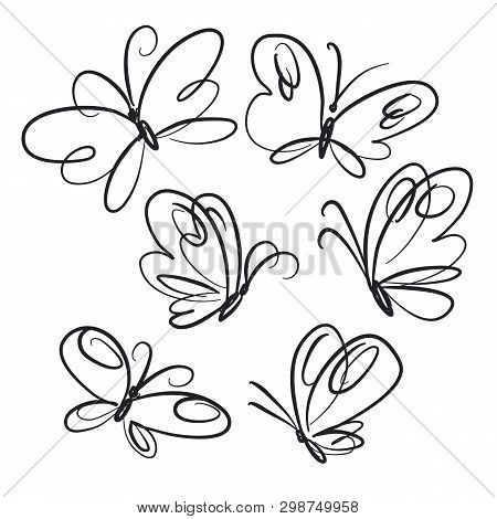 Butterflies Hand Drawn Line Art Illustrations Set. Spring Insects Closeup Scribble Drawing. Elegant