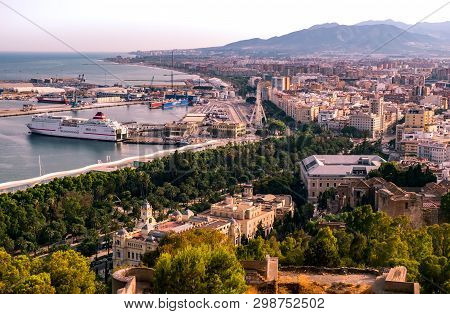 Malaga, Spain - June 24, 2018. Panoramic View Of The Malaga City And Port, Costa Del Sol, Malaga Pro