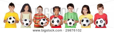 Soccer team isolated on a over white background