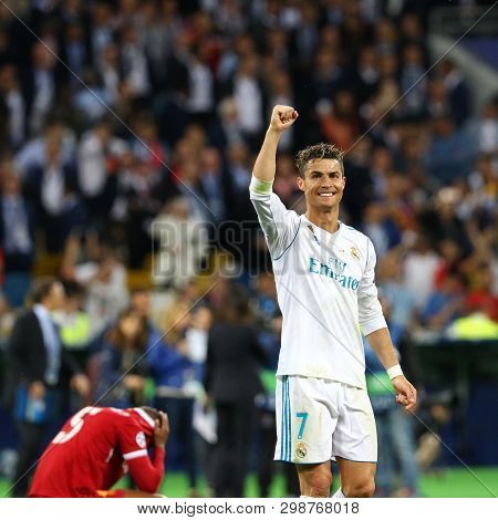 Kyiv, Ukraine - May 26, 2018: Cristiano Ronaldo Of Real Madrid Celebrates After Win The Uefa Champio