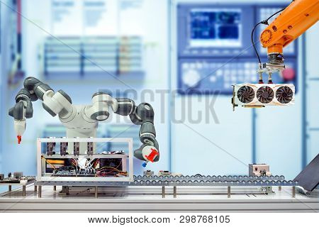 Industrial Robotics Automation Working Assemble Computer Bitcoin Mining Via Conveyor Belt On Smart F