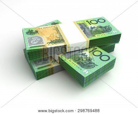 Stack Of Australian Dollar (isolated On White Background) 3d Rendering