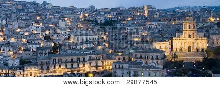 wiew of baroque town in sicily