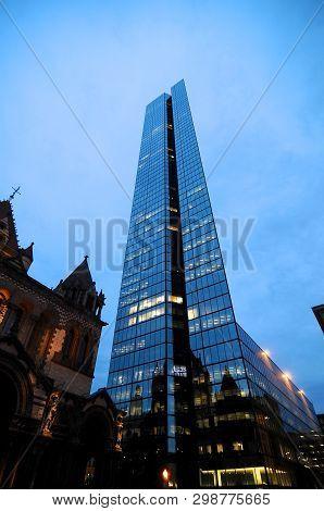 Boston, Massachusetts, Usa - 20th July 2014 : Side View On The John Hancock Tower And Surrounding Bu
