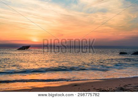 Sunset Beach And The Sunken Ss Atlantic At Sunset In Early Spring With Warm Light - Cape May Point N