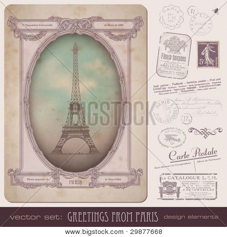 vintage postcard and Paris-themed postage design elements - frame also perfect as a photo frame poster