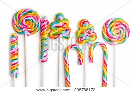 Set of colorful lollipops isolated on white background. Swirl lollipops.