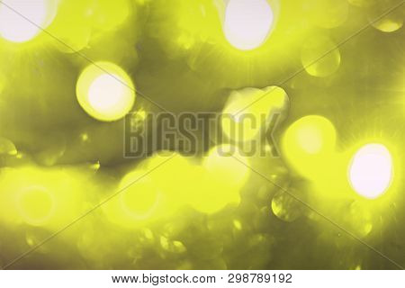 Wonderful Yellow Huge Festal Glitter Bokeh Texture - Abstract Photo Background